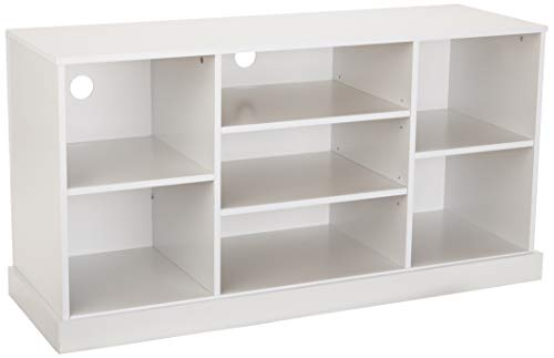 AmazonBasics Modern Wood Entertaiment TV Console and Cube Organizer - 50 Inch, Solid White