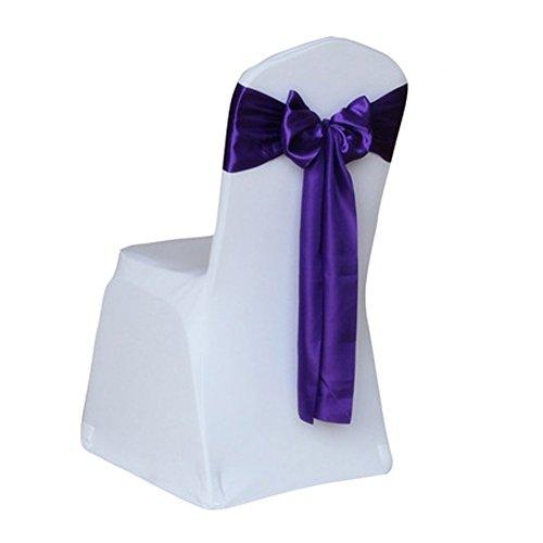 ZeHui Satin Wedding Chair Cover Bow Sashes Banquet Decor-Deep Purple 1PCS/SET 17275CM