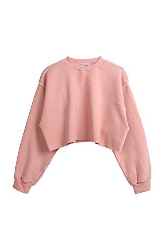 Vrac Rose Décontracté Crop Pull Coton Femme Hiver Sweat Tops Fasumava Uni WaSvpz6