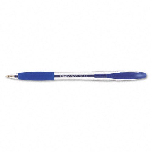 Bic Atlantis Stick Ballpoint Pen (BIC Products - BIC - Atlantis Ballpoint Stick Pen, Blue Ink, Medium, Dozen - Sold As 1 Dozen - Easy-Glide System ink technology. - Nickel silver point. - Contemporary styling and a soft rubber grip.)