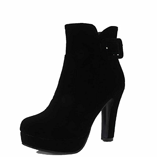 Allhqfashion Women's Frosted Round Closed Toe Solid Low Top High Heels Boots Black Qr4ibraEG