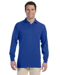 Collar Long Sleeve Shirt (Jerzees 5.6 oz., 50/50 Long-Sleeve Jersey Polo with SpotShield XL ROYAL)