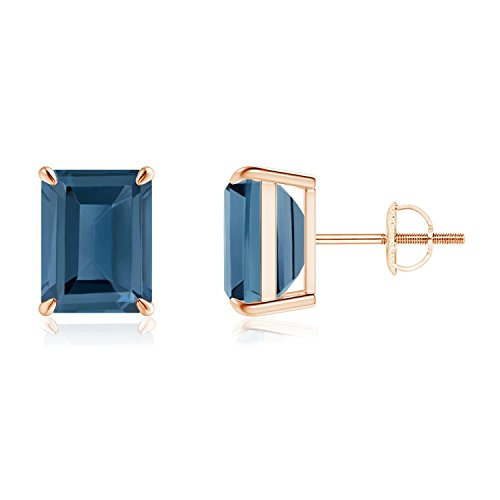 Claw-Set Emerald-Cut London Blue Topaz Solitaire Earrings in 14K Rose Gold (9x7mm London Blue Topaz) - Claw Solitaire Earrings