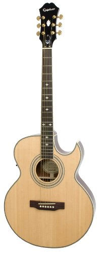 (Epiphone PR5-E Thin-Body Acoustic/Electric Guitar, Florentine Cutaway)