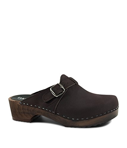Sandgrens Swedish Wooden Clogs For Men | Halmstad In Fudge by, Size US 12 EU 45 by Sandgrens