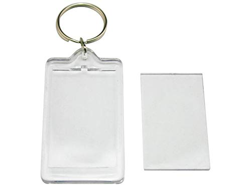 ar Blank Acrylic Photo Image Picture Frame Keychain Key Buckle Ring Personalized Insert Clear Blank DIY Picture Frames ()
