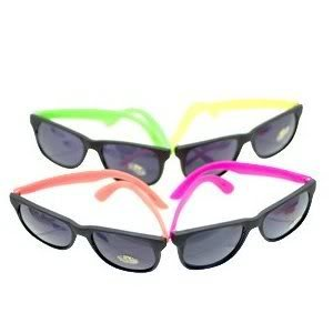 Toy / Game 12 Pairs Neon 80's Wayfarer Sunglasses Kids Teen Party Favors ( 6.5 x 6 x 3 inches ; 1 pounds - Neon Sunglasses Custom