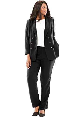 Jessica London Women's Plus Size Petite Double Breasted Pantsuit Black,20 P