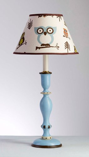 Blue Handcrafted Candlestick Lamp With Decorative Fabric Owl Shade – Made in the USA