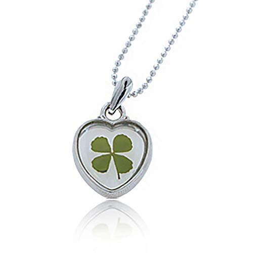 4 Leaf Clover Shamrock Necklace - Stainless Steel Real Four (4) Leaf Clover Good Luck Shamrock Heart Pendant Necklace, 16-18 inches