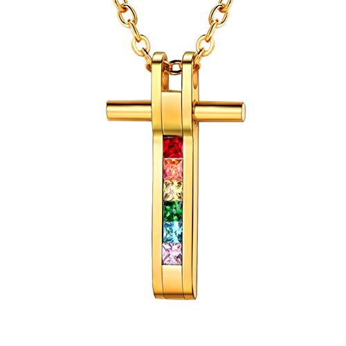 PROSTEEL LGBT Gay Pride Jewelry 18K Gold Plated CZ Zircon Rainbow Crystal Cross Pendant Gift Men Women Lesbian Pride Necklace