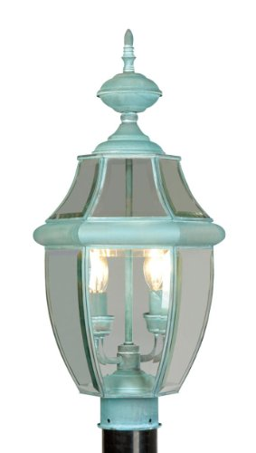 Outdoor Post 2 Light with Clear Beveled Glass Verdigris Size 22 in 120 Watts - World of Crystal ()