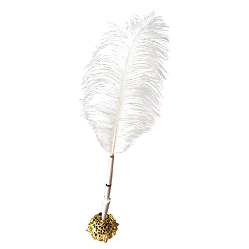 Dergo White Feather Party Wedding Sign Pen Guest Book Pen Holder Creative Gifts Decor (Ostrich Belted Belt)