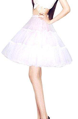 Adult Short White Crinoline (MisShow Women's 50s Vintage White Rockabilly Petticoat Short Tutu Skirt 18