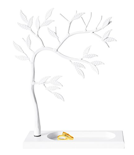 Geff House Jewelry Tree Organizer Display for Necklace, Bracelets, Earrings & Rings (White) (Jewelry Tree White)