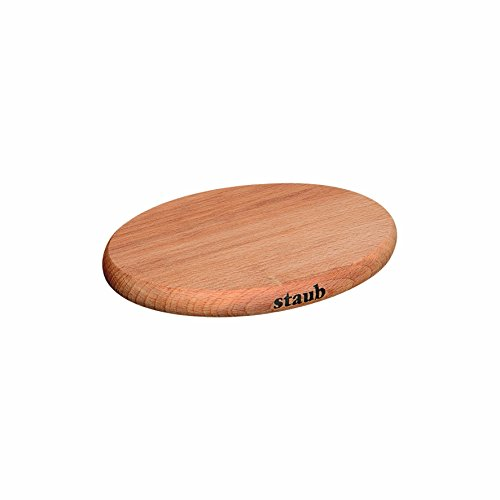 Staub Oval Magnetic Wooden Trivet, 8.5 Inch ()