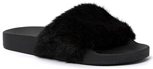 Open Toe Slide On Slip On Fur Street Fashion Sandals Flip Flop Slippers Black 8