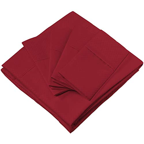 Cosy House Collection Elegant Bed Sheets - King Size, Burgundy (Dots) - Luxury 6 Piece Hotel Bedding Set - Beautiful Matte & Shine Patterns - Deep Pocket - 1 Fitted, 1 Flat, 4 Pillowcases