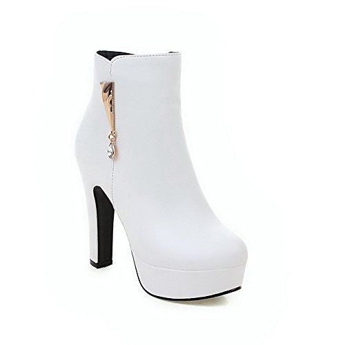 AgooLar Women's Round Closed Toe Low top High-Heels Solid PU Boots White PdAjpj2