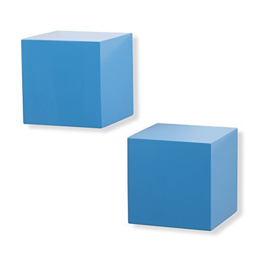brightmaison Living Room Decorative Square Wall Cubes Floating Block Shelves Set of 2 (Blue)