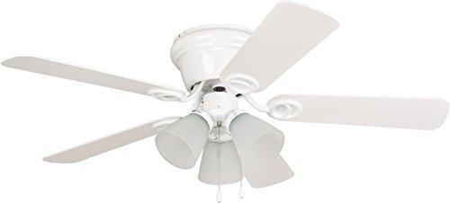 Ellington Bathroom Lighting - Ellington WC42WW5C3F Wyman Ceiling Fan with White/White Washed Blades and Matte White Glass, 42