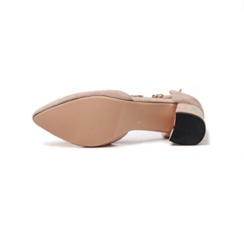 GRRONG Zapatos De Tacón Alto De Las Mujeres Mujer Cabeza Esmerilado Zapatos De Tacón Alto Señalaron Khaki