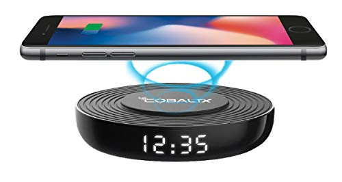 CobaltX Wireless Charging Pad with added Digital LED Clock, Qi wireless charger, Wireless Phone Charger compatible with iPhone, Galaxy-Phone Charging dock, Desk Charger, Charger Stand with Fast Charge