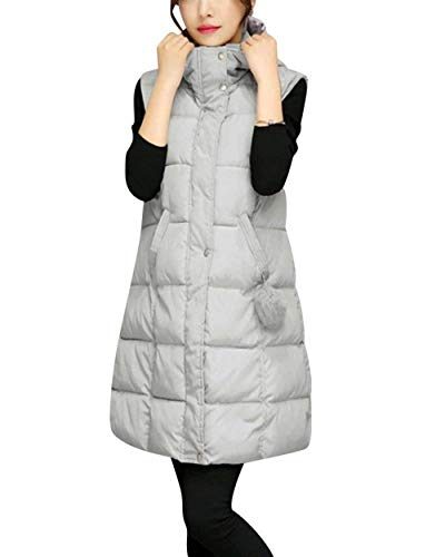 Transizione Caldo Casual Giovane Solidi Gilet Trapuntato Colori Eleganti Giacca Di Grau Women Incappucciato Invernali Moda Donna Addensare Lunga Smanicato Cappotto xZx7wvq
