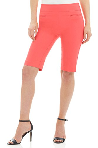 Rekucci Women's Ease In To Comfort Fit Pull-On Modern City Shorts (14,Coral)