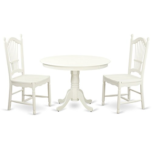 East West Furniture HLDO3-LWH-W 3 Piece Hartland Set, Linen White