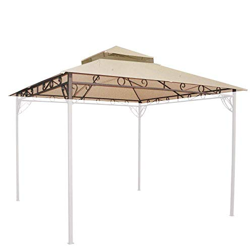 (10.6ft x 10.6ft Outdoor Waterproof Polyester Gazebo Canopy Top Replacement 2-tier PVC Coated Polyester Cover Beige for 10' Frame Patio Accessories Garden Yard Parties Wedding Birthday)