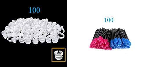 Sky Supply - Eyelash Extensions Supplies Glue Sky+Disposable Rings Eyelash Mascara Brushes Wands Applicator Makeup Kits 200pcs