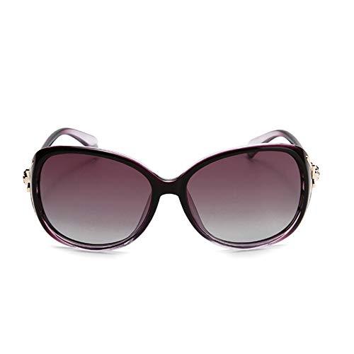 Soleil Sunglasses Ladies Purple Soleil Générique Noir Couleur Drive polarisées Femme Grandes de Star Lunettes Lunettes Rondes Sunglasses Tide Drive de C44qPwdx