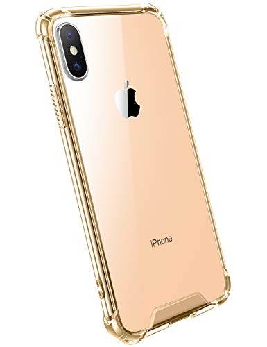 Ansiwee Compatible with iPhone Xs Max (2018), Men and Womens Crystal Clear Shock Absorption Soft TPU Bumper Hard Back Panel Cover Case for Apple iPhone Xs Max 6.5 Inch (Yellow Gold)