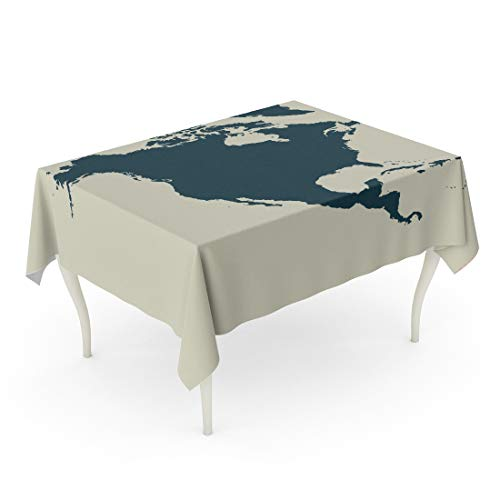 - Tarolo Rectangle Tablecloth 60 x 90 Inch Geographic Outline Map of North America Silhouette Abstract Alaska Area Border Table Cloth
