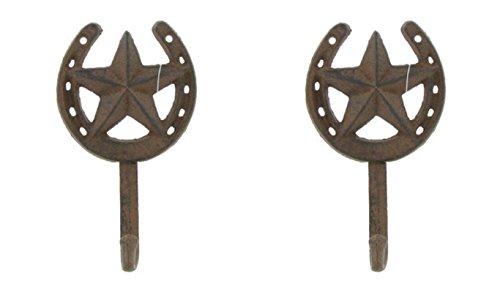 Horseshoe Hanger - Cast Iron Star Horseshoe Hook Set of 2