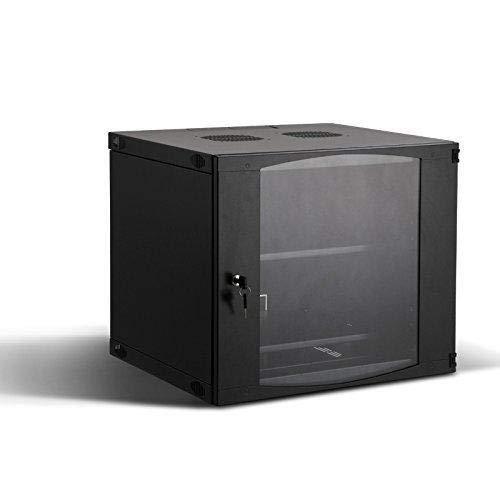 Rising 9U Wall Mount Network Server Cabinet Rack Enclosure Glass Door Lock 400MM Deep