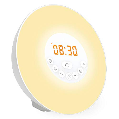 Wake Up Light, myfree Nature Light Sunrise Simulation Alarm Clock Touch Control Night Light for Bedrooms, Snooze Function Wake-Up Light with USB Charger FM Radio for Heavy Sleepers
