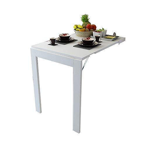 mesa plegable ZHIRONG Plegable de Pared, Marco de Fotos, Mesa de Comedor Multifuncional para Escritorio de computadora (Color : Blanco, Tamano : 90 * 60CM)