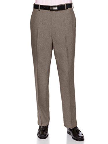 RGM Men's Flat-Front Heather Poly Rayon Dress Slack Taupe 46 Medium -