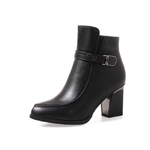 BalaMasa Womens Zipper Boots Fashion Urethane Boots Black