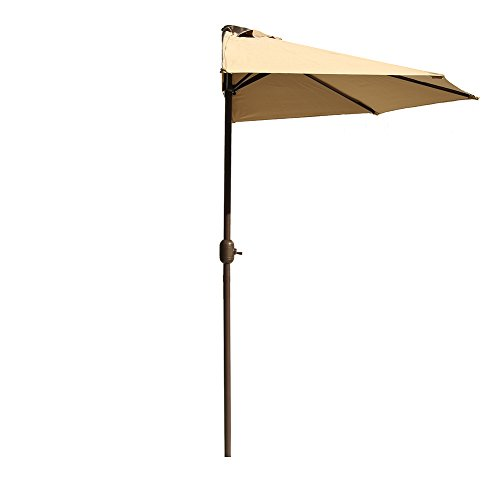 Le Papillon 9Ft Outdoor Half Round Patio Umbrella Wall Balcony Door with Crank, Beige