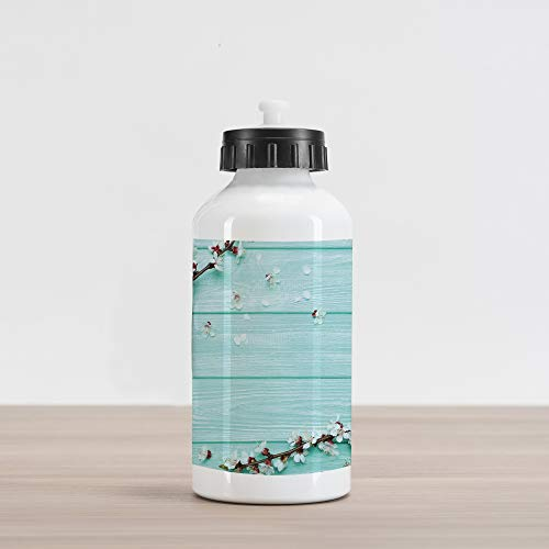 Lunarable Mint Aluminum Water Bottle, Spring Cherry Blossom Petals Branch on Rustic Wooden Planks Seasonal Picture, Aluminum Insulated Spill-Proof Travel Sports Water Bottle, White Brown Seafoam