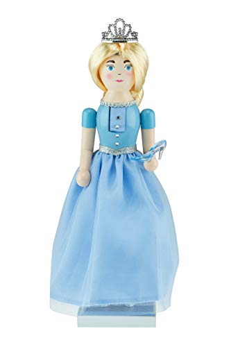 Clever Creations - Princess Christmas Nutcracker - Traditional Wooden Decorative Figure in a Blue Ballgown with a Sparkling Tiara and Glass Slipper - 14 Inches