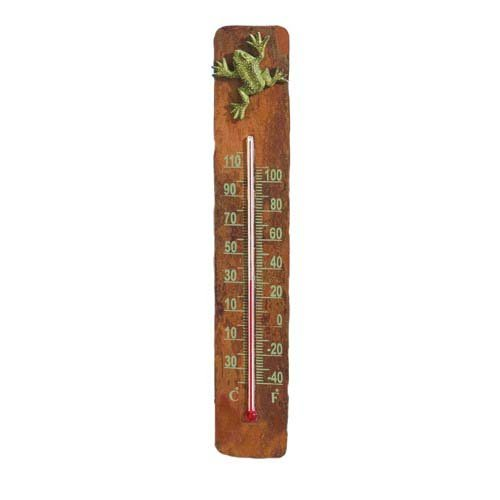 Ancient Graffiti Copper/Cast Brass Frog - Frog Thermometer