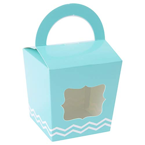 ([24pcs] ONE MORE Single Mini Cupcake Boxes Individual Containers With Handle and PVC Window,Disposable Kraft Paper Cupcake Holders (New Blue))