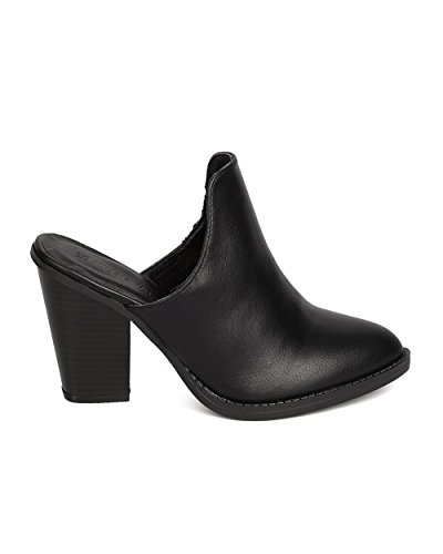 Wild Diva FH24 Leatherette Pointy Toe Chunky Heel Mule - Black ZrFZG