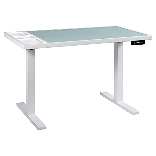 Ashley Furniture Signature Design - Baraga Electric Adjustable Home Office Desk - Power Cord Included - Contemporary - White w/ Frosted Glass - Modern Contemporary Desk