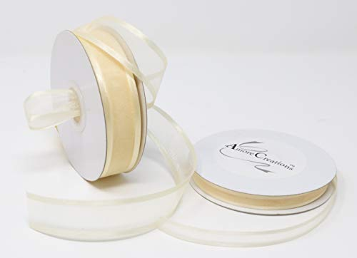 Ivory Organza Ribbon With Satin Edge-25 Yards X 5/8 Inches - Ivory Organza Ribbon