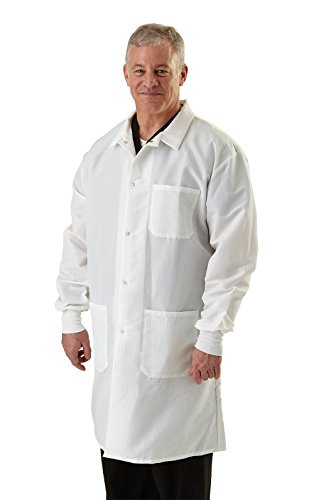ResiStat Men's Protective Lab Coats , Medium, White